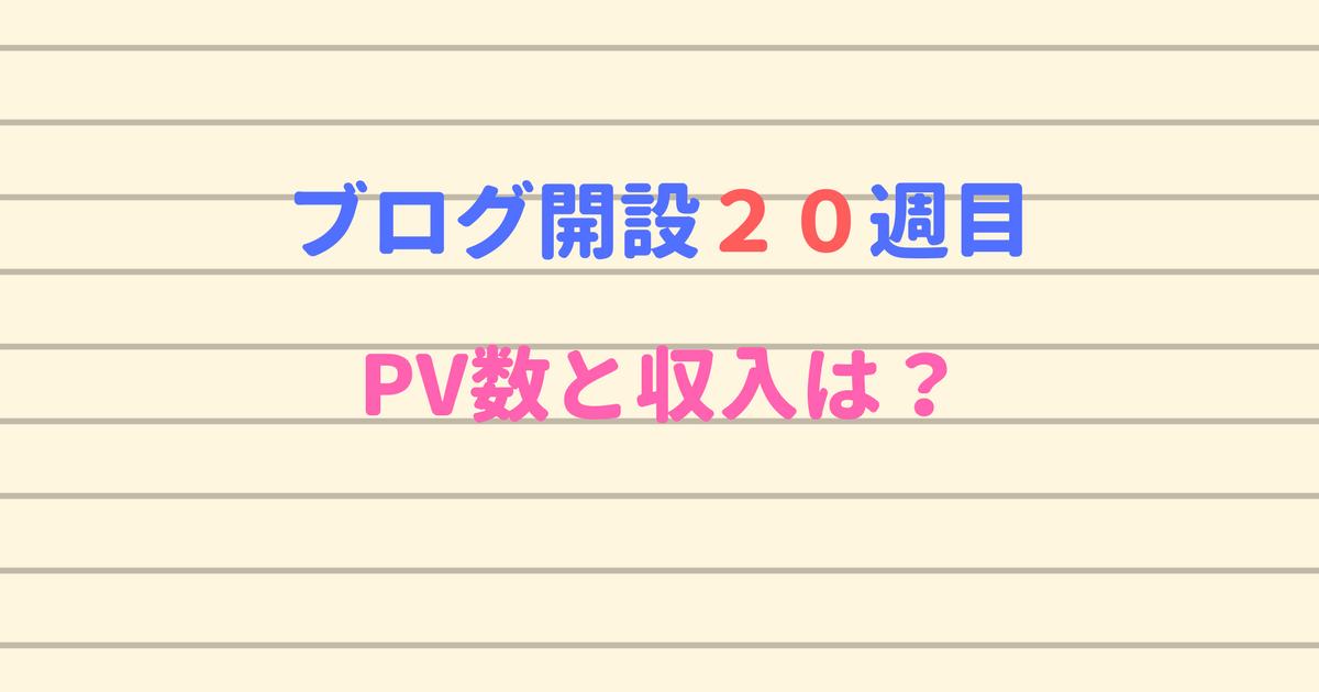 ブログ開設20週目のPV数と収入