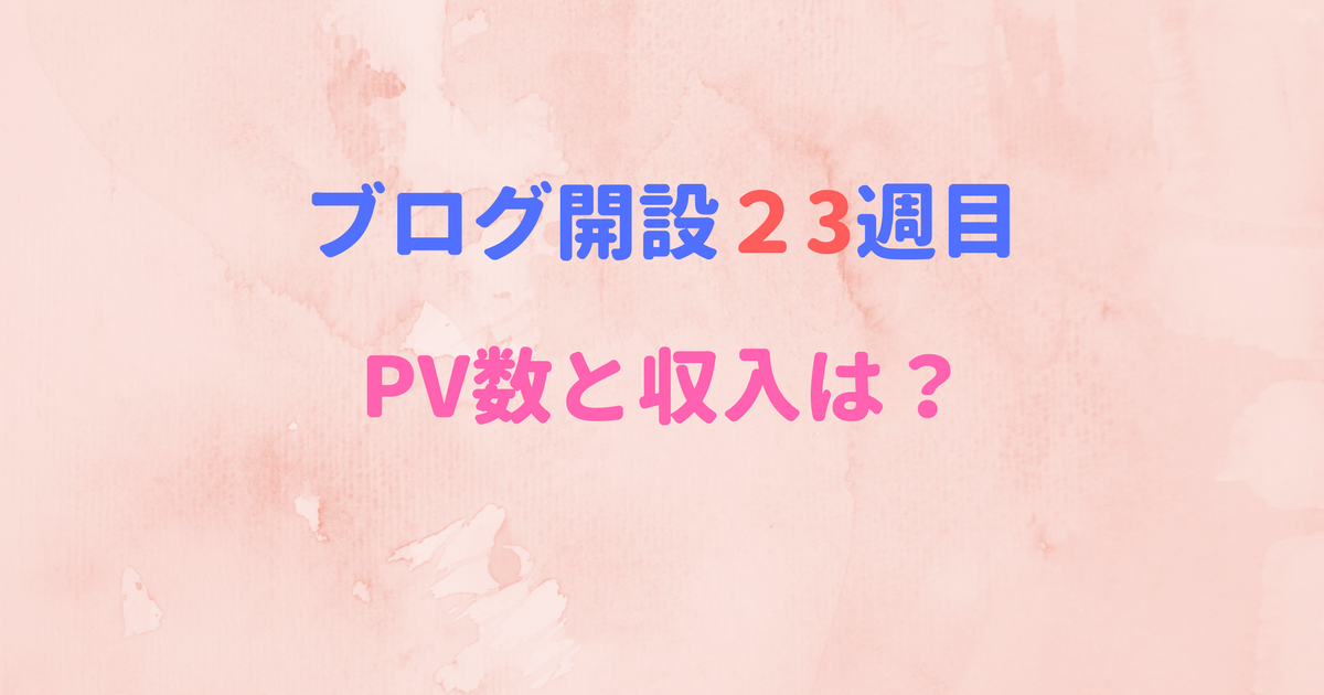 ブログ開設23週目のPV数と収入